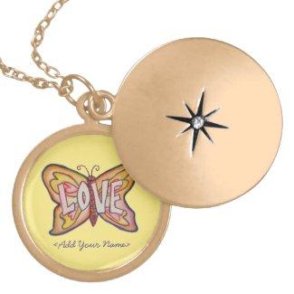 Love Word Yellow Butterfly Custom Name Lockets
