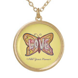 Love Word Yellow Butterfly Custom Name Necklaces