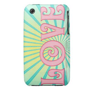 Love Wordart - Blue Sunburst for Iphone iPhone 3 Cover