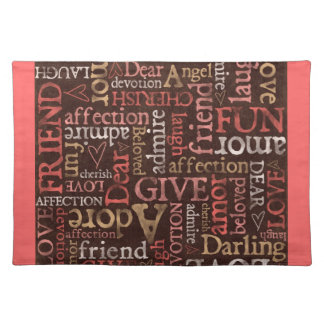 Love Words Brown & Pink Placemat