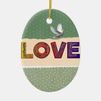 LOVE WORDS CERAMIC ORNAMENT