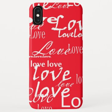 Love Words Hand Lettered Red White iPhone XS Max Case