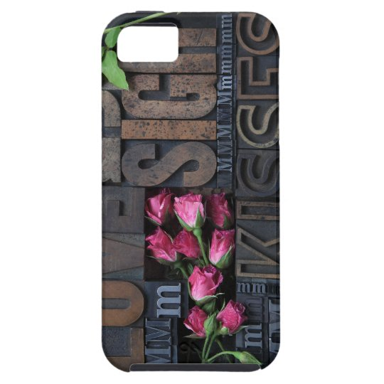 love words in letterpress type iphone tough case