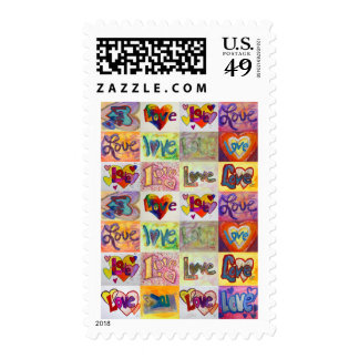Love Words XOXO Art Painting Postage Stamp