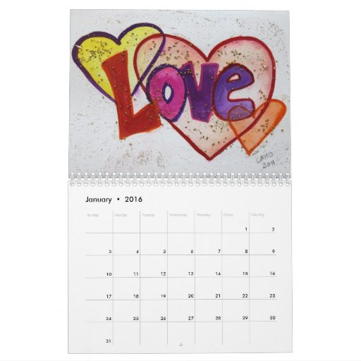 Love Words XOXO Art Paintings Calendar