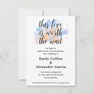 Love Worth The Wait | Wedding Event Postponed Card