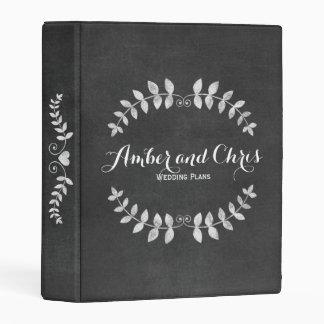 Love Wreath Black Faux Chalkboard Wedding Planner Mini Binder