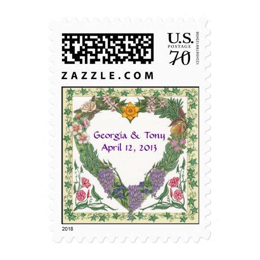 Love Wreath Personalized Wedding Postage ~ 2 Oz.