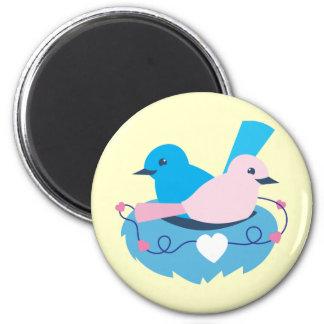 Love wrens lovebirds nest 2 inch round magnet