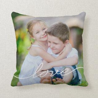 LOVE Writing Custom Photo Throw Pillow at Zazzle
