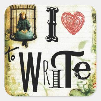 Love Writing Square Sticker