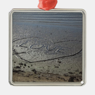 Love Written in the Sand Metal Ornament