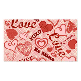Love XOXO Be Mine Forever Hearts Valentine's Day Business Card Template
