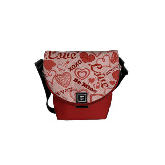 Love XOXO Be Mine Forever Hearts Valentine's Day Courier Bag