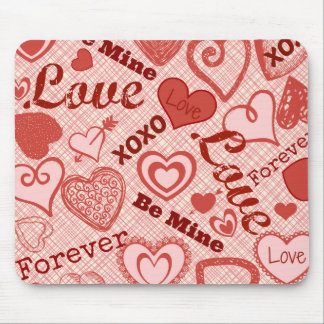 Love XOXO Be Mine Forever Hearts Valentine's Day Mouse Pad