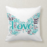 """Love Ya"" message on a blue butterfly Throw Pillows"