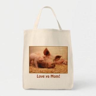 Love ya Mom! Baby Pig Grocery Tote