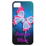Love Ya Mom, Neon Pink Trim Butterfly iPhone 5 Covers