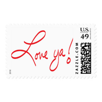 LOVE YA! Red and White Postage Stamp