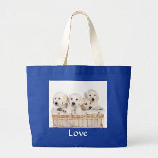 Love Yellow Labrador Retriever Puppies Tote Bags