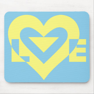 Love Yellow on Blue Mouse Pad