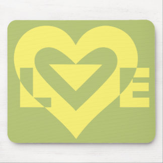 Love Yellow on Sage Green Mouse Pad