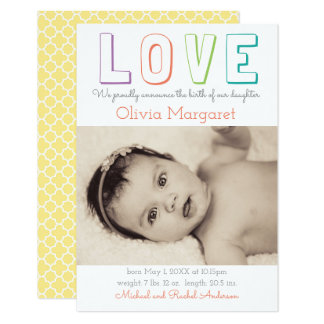 LOVE Yellow Quatrefoil - 3x5 Birth Announcement