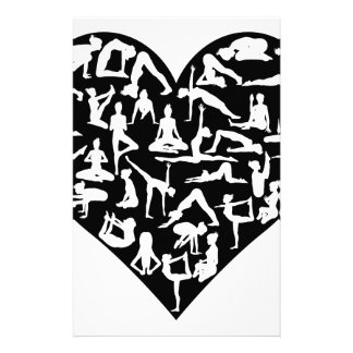 Love Yoga Poses Silhouettes Heart Stationery