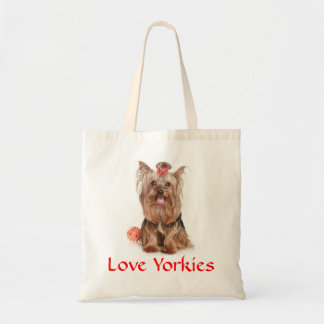 Love Yorkies Yorkshire Terrier Puppy Dog Totebag Canvas Bags