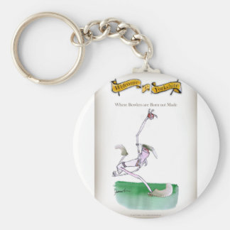 Love Yorkshire Cricket 'bowlers are born not made' Keychain