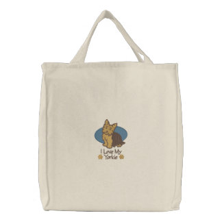 Love Yorkshire Terrier Embroidered Bag