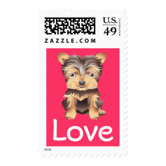 Love Yorkshire Terrier Pink Postage Stamp