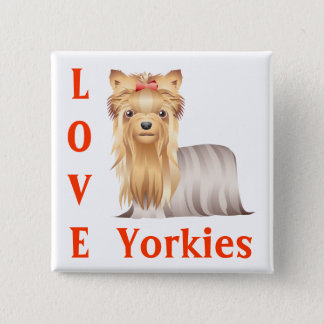 Love  Yorkshire Terrier Puppy Dog Button Pin