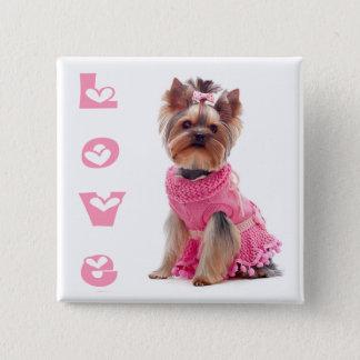 Love Yorkshire Terrier Puppy Dog Pin / Button
