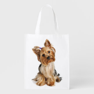Love Yorkshire Terrier Puppy Dog Grocery Bags