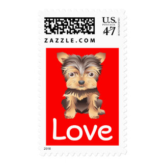 Love Yorkshire Terrier Red Postage Stamp