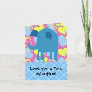 Love You a Ton, Elephant Valentine Cards
