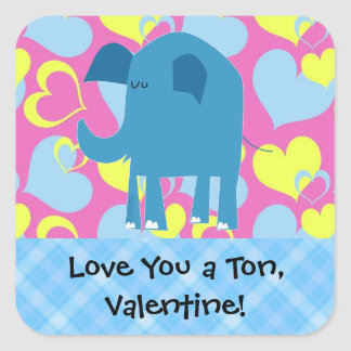 Love you a ton, Valentine Square Sticker