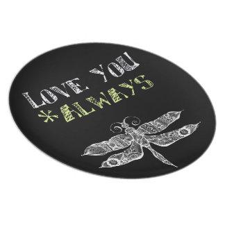 Love You Always Chalkboard Melamine Plate