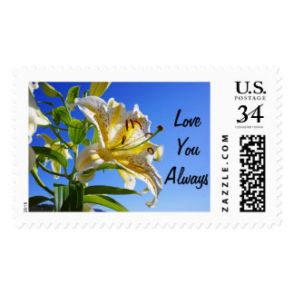 Love You Always postage stamps Lily Flowers Spring