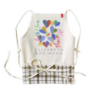 Love You Always Watercolor Hand-Painted Hearts Zazzle HEART Apron