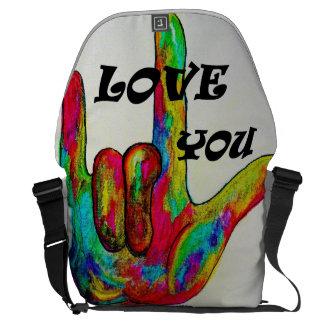LOVE YOU! ASL American Sign Language Messenger Bag