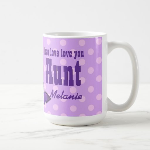 Love You AUNT Purple Butterfly V01H Coffee Mugs