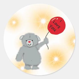 Love You Bear Classic Round Sticker