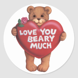 Love You Beary Much products Round Stickers