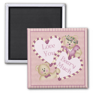 Love You Beary Much Square Magnet