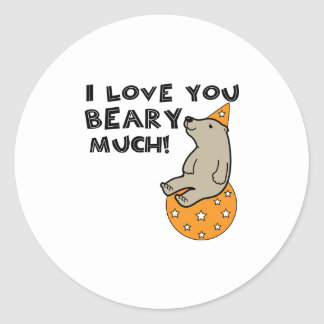 Love You Beary Much Round Sticker