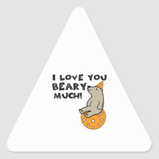 Love You Beary Much Triangle Sticker