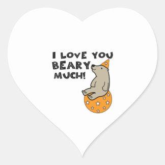 Love You Beary Much Heart Sticker