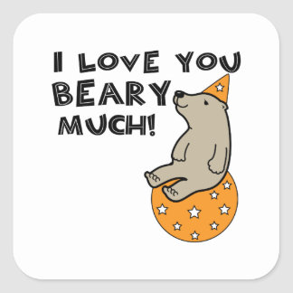 Love You Beary Much Square Sticker